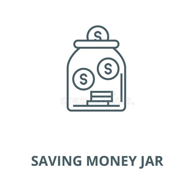 Сохраняя линия значок вектора опарника денег, линейная концепция, знак плана, символ иллюстрация штока