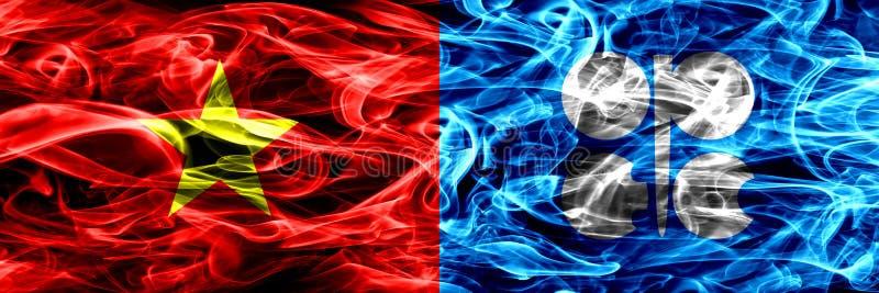 Социалистическая Республика Вьетнам против флагов дыма ОПЕК установила сторону - - сторона Толстые покрашенные шелковистые флаги  бесплатная иллюстрация