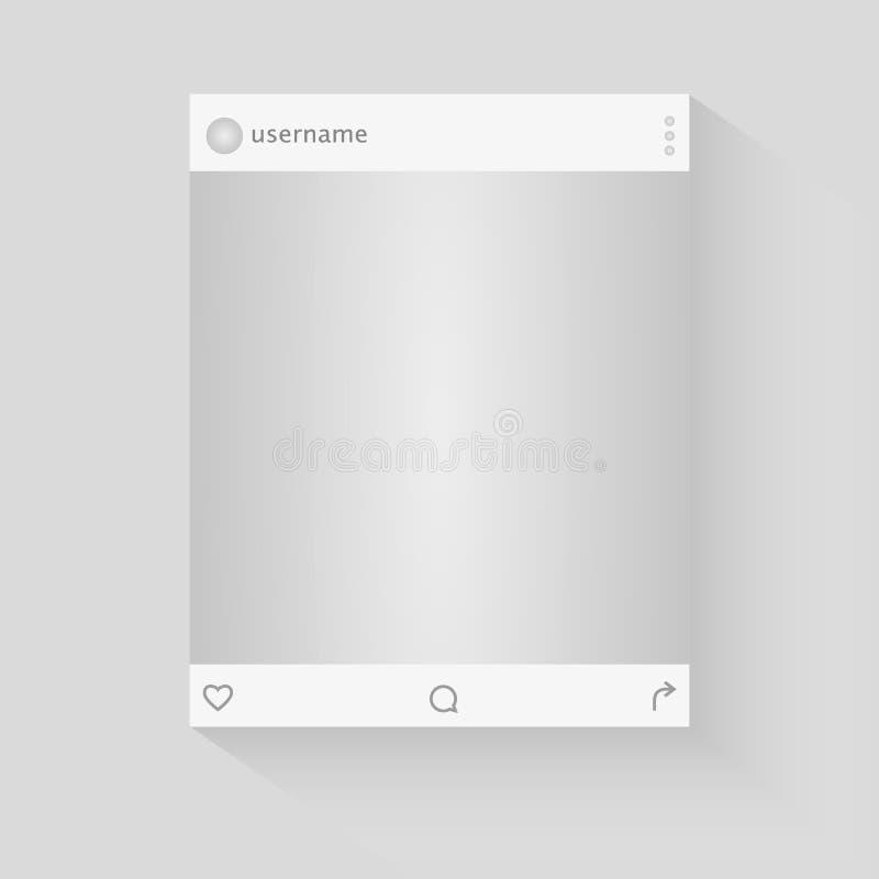 Социальная иллюстрация вектора рамки фото сети Воодушевленный социальными ресурсами Насмешка вверх по иллюстрации вектора иллюстрация штока