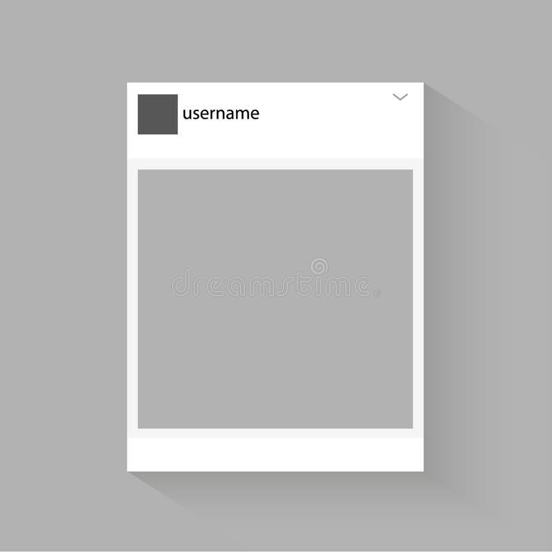 Социальная иллюстрация вектора рамки фото сети Воодушевленный социальными ресурсами Насмешка вверх по иллюстрации вектора иллюстрация вектора