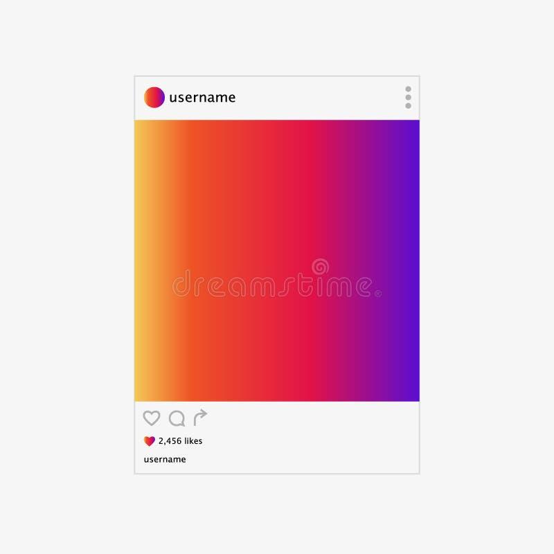 Социальная иллюстрация вектора рамки фото сети Воодушевленный социальными ресурсами Насмешка вверх иллюстрация вектора