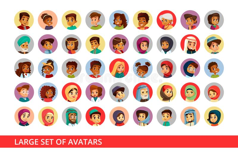 Социальная иллюстрация шаржа воплощений потребителя сети национальности людей и детей различной для болтовни профилирует значки иллюстрация вектора