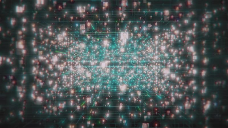 Социальная концепция сети с потоком непознаваемых портретов людей в интернете на черной предпосылке космоса, 3d бесплатная иллюстрация