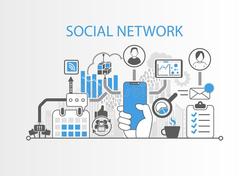 Социальная концепция сети с рукой держа телефон современного шатона свободный умный иллюстрация вектора