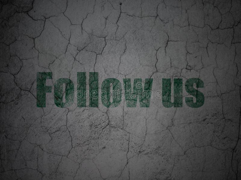 Социальная концепция средств массовой информации: Следовать нами на предпосылке стены grunge иллюстрация вектора