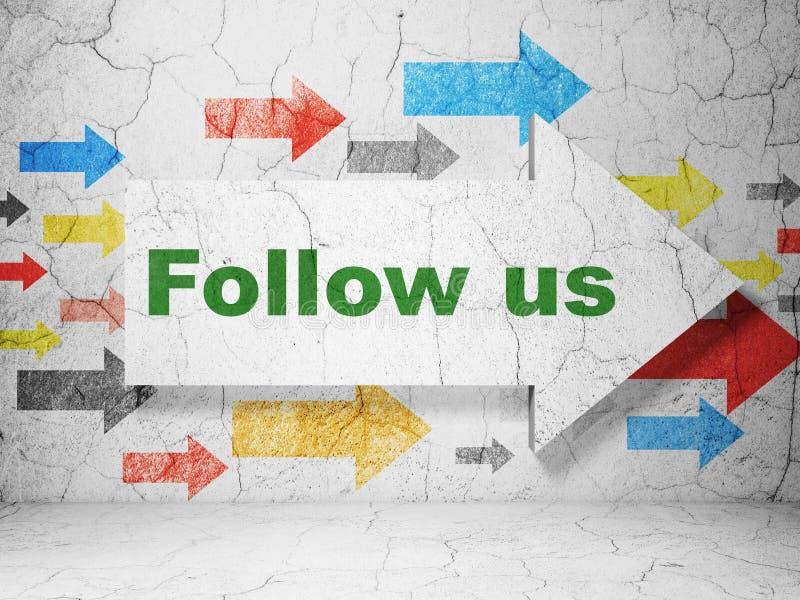 Социальная концепция средств массовой информации: стрелка с следовать нами на предпосылке стены grunge стоковая фотография