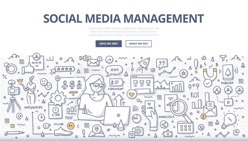 Социальная концепция Doodle управления средств массовой информации иллюстрация штока
