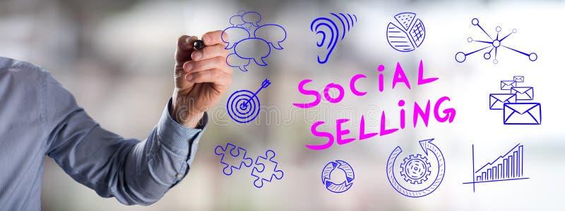 Социальная продавая концепция нарисованная человеком стоковые фотографии rf