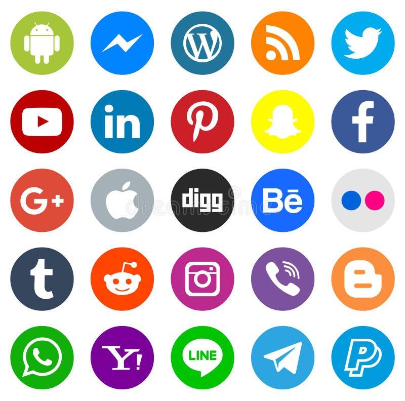 Социальная серия значка средств массовой информации иллюстрация штока