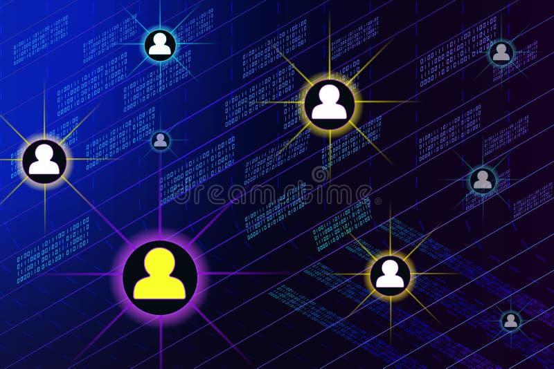 Социальная сеть, люди соединяясь во всем мире иллюстрация штока