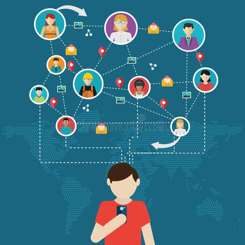 Социальная сеть, люди соединяясь во всем мире иллюстрация вектора