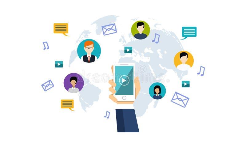 Социальная сеть средств массовой информации, люди соединяя во всем мире иллюстрацию вектора бесплатная иллюстрация