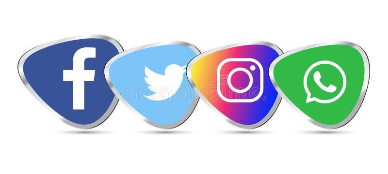 Социальное facebook значков 3d средств массовой информации, instagram, whatsapp, twitter иллюстрация вектора