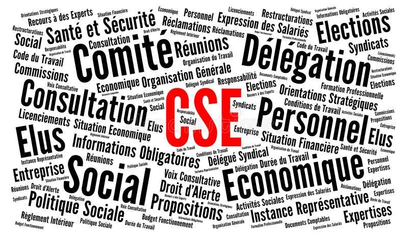 Социально-экономический комитет назвал CSE во Франции слово 'облако' на французском языке иллюстрация вектора