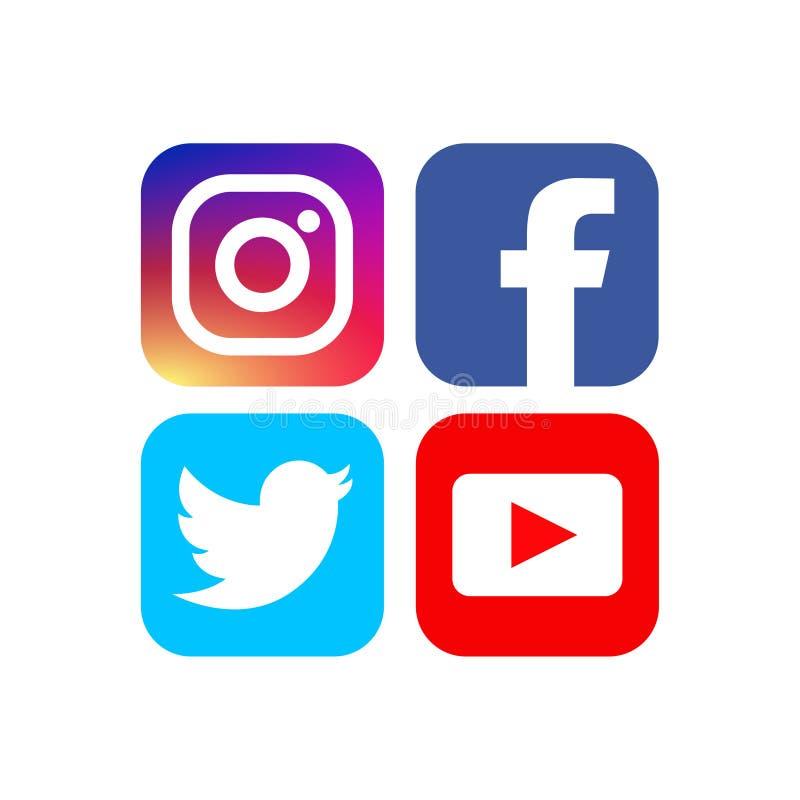 Социальные значки средств массовой информации - иллюстрации вектора иллюстрация штока
