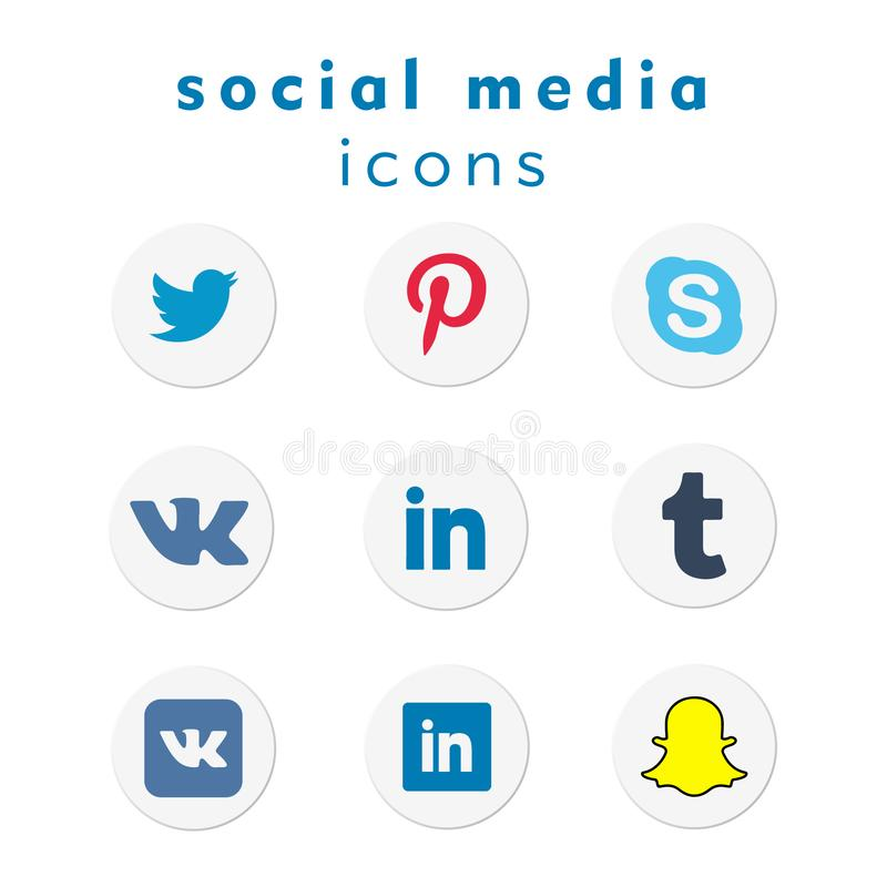 Социальные значки средств массовой информации установили 7 бесплатная иллюстрация