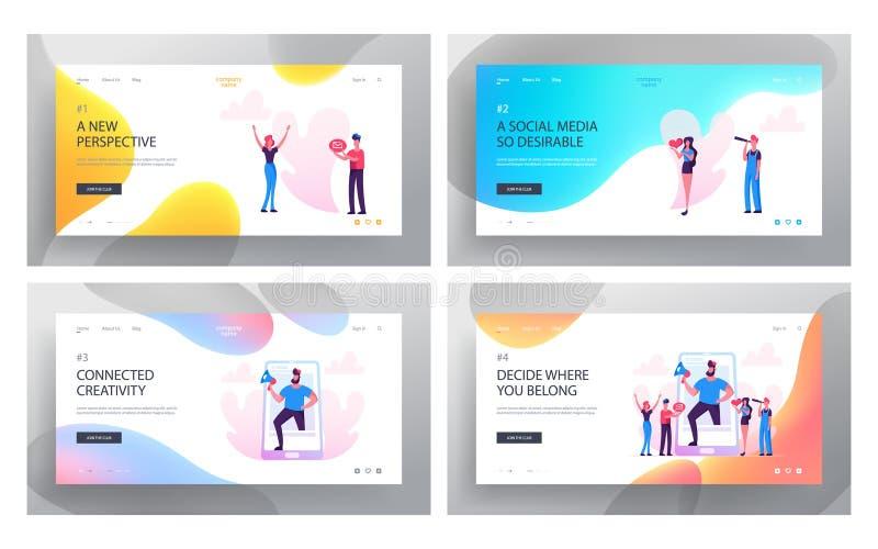 Социальные отношения средств массовой информации, блог, набор страницы посадки вебсайта, умные технологии, ведя блог, связь интер иллюстрация штока