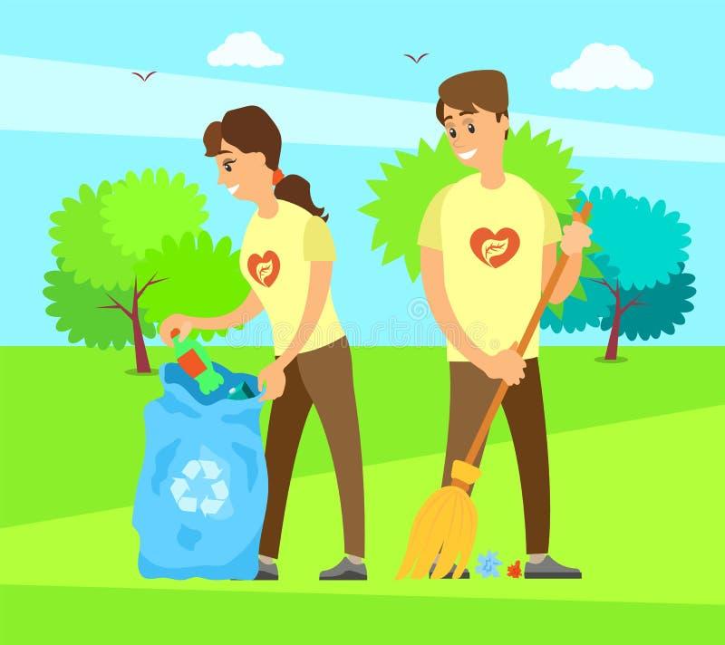Социальные работники людей в вызываться добровольцем организация иллюстрация вектора