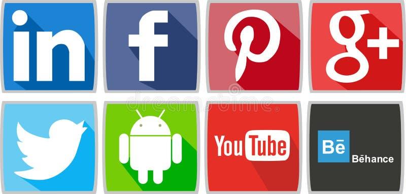 Социальные сети или социальные значки средств массовой информации для компьютера или для телефона иллюстрация штока