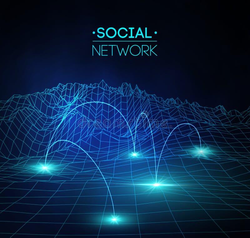 Социальные средства массовой информации сети глобальные Связь людей и иллюстрация сети дележки информации 3d равновеликая Infogra иллюстрация штока