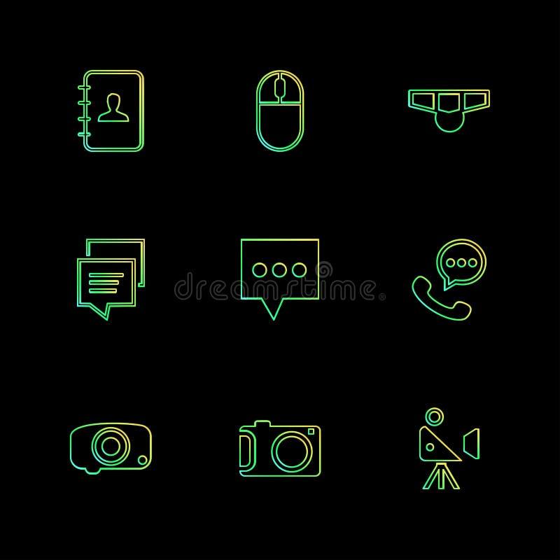 социальные средства массовой информации, умный телефон, чернь, интернет, значки eps установили v иллюстрация вектора