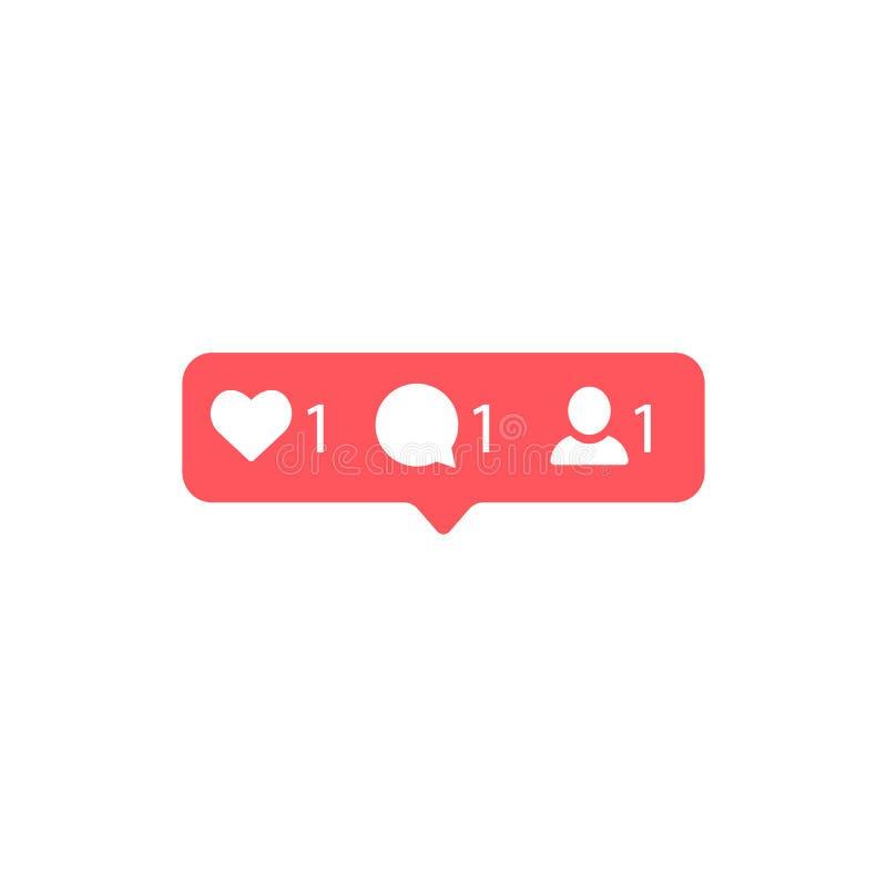 Социальные средства массовой информации Instagram современное как, следующий, красный цвет следующий, кнопка комментария, значок, иллюстрация вектора