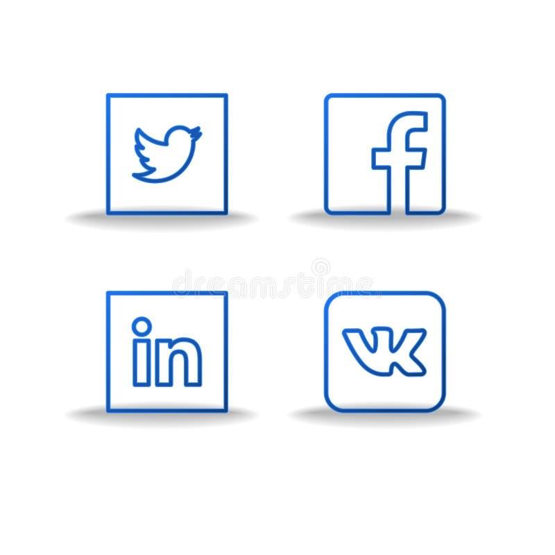 Социальные установленные значки и стикеры сети Логотип социальных средств массовой информации плоский Тонкая линия логотип иллюстрация вектора