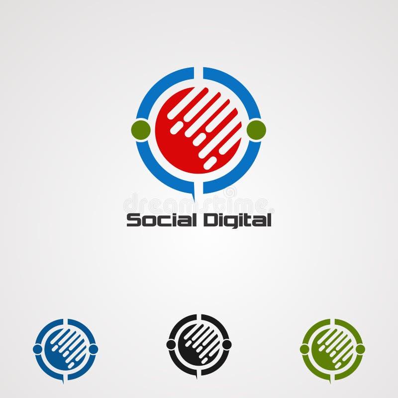 Социальные цифровые вектор, значок, элемент, и шаблон логотипа для компании иллюстрация вектора