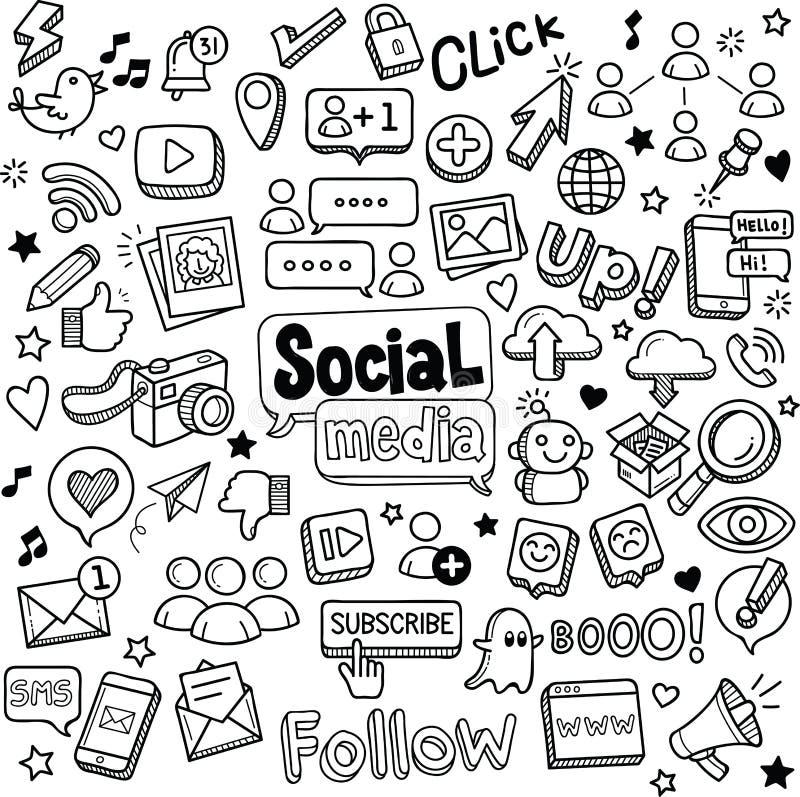 Социальные doodles средств массовой информации бесплатная иллюстрация