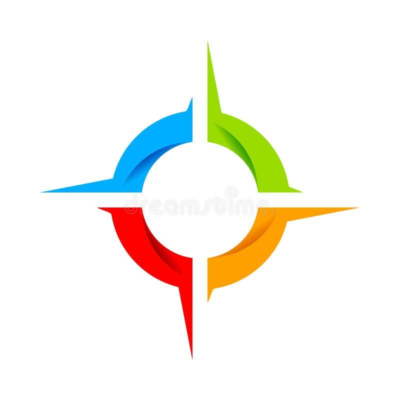 Социальный дизайн логотипа символа колеса компаса стоковые изображения