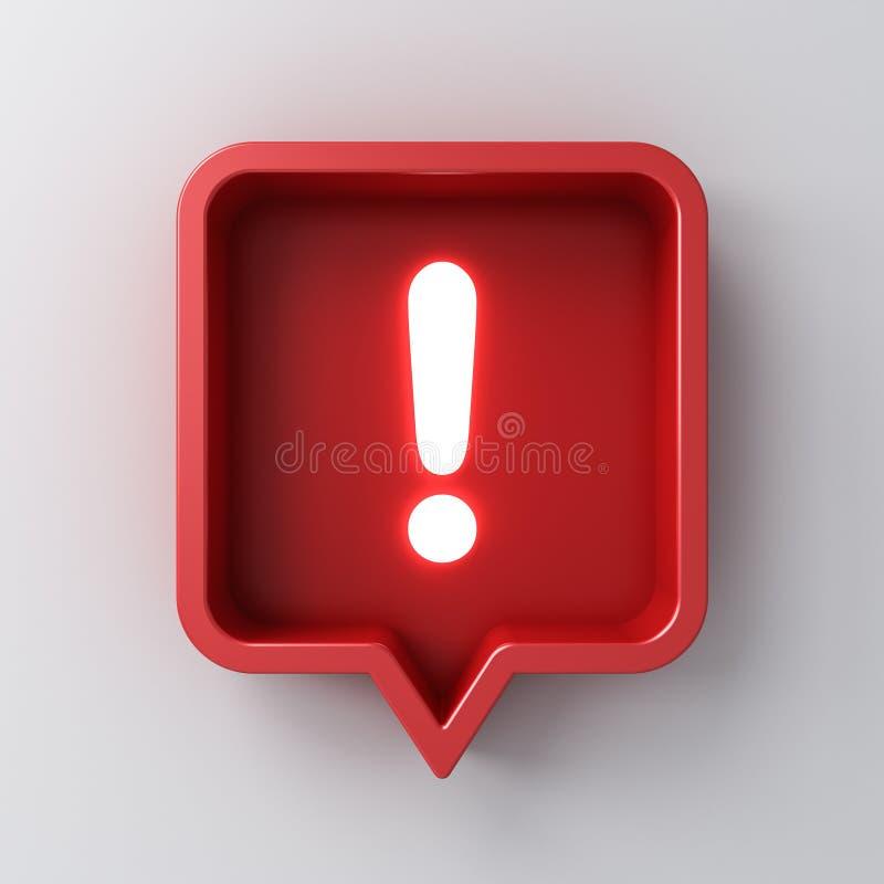 социальный значок восклицательного знака неонового света уведомления средств массовой информации 3d в красном округленном квадрат иллюстрация штока