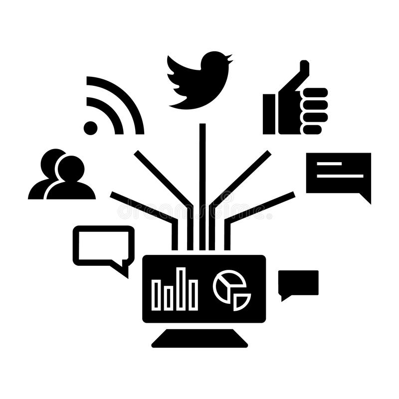 Социальный значок маркетинга, иллюстрация вектора, знак на изолированной предпосылке иллюстрация вектора