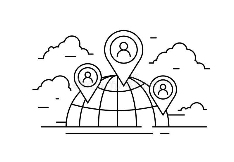 Социальный значок сети, иллюстрация сетевого подключения людей иллюстрация вектора