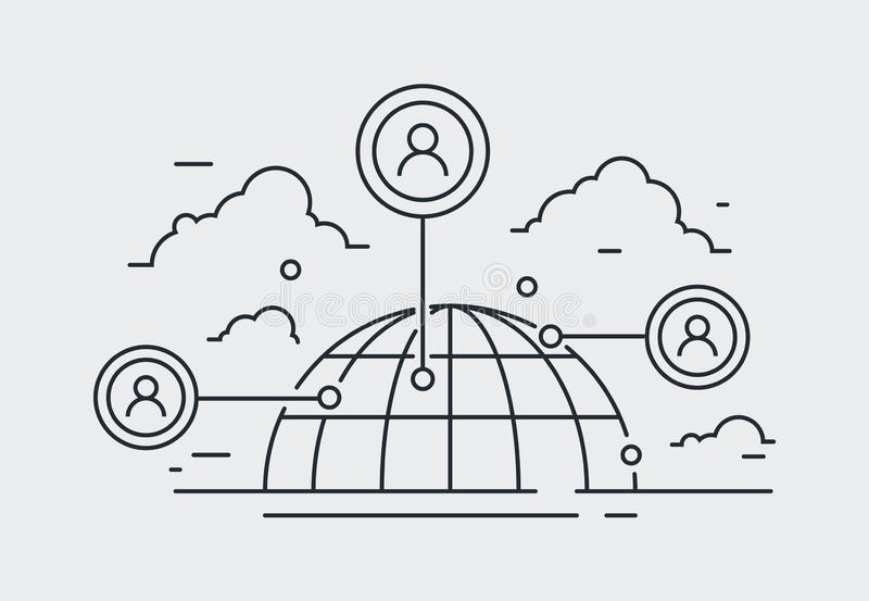 Социальный значок сети, иллюстрация сетевого подключения людей иллюстрация штока