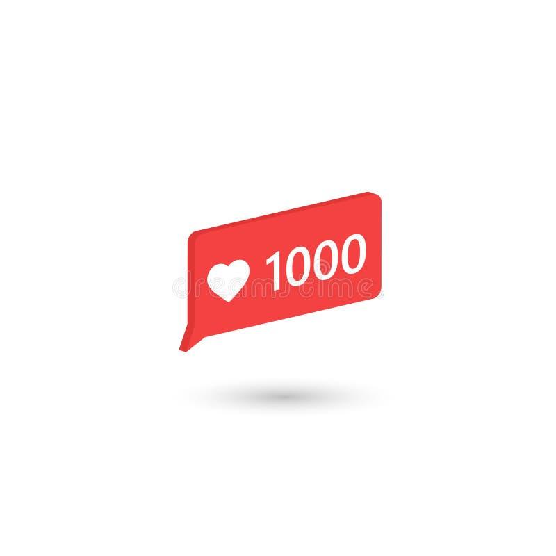 Социальный значок средств массовой информации любит 1000 также вектор иллюстрации притяжки corel равновеликий дизайн 3d Знамя веб бесплатная иллюстрация