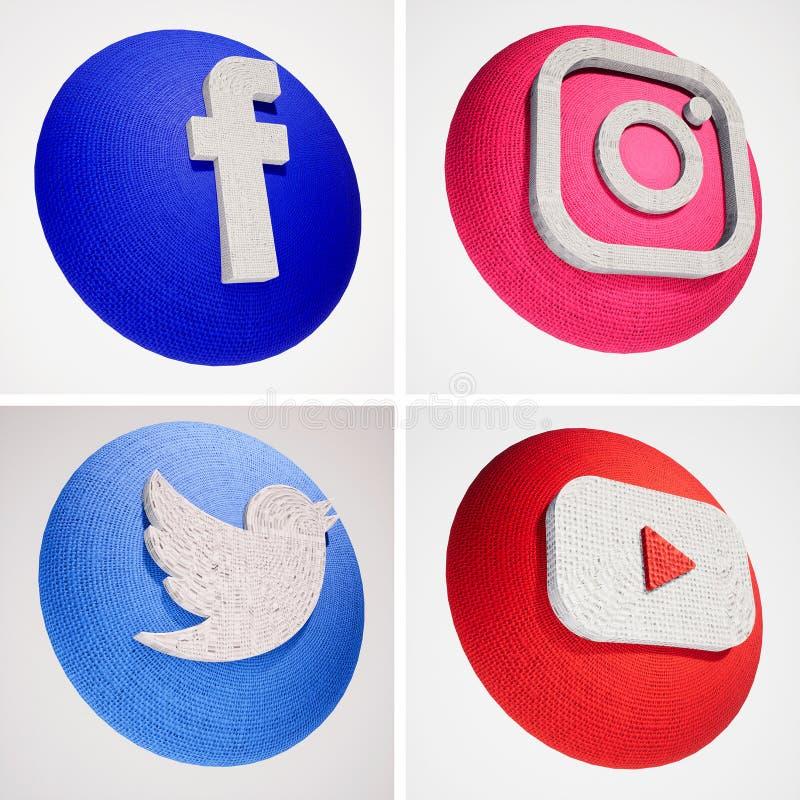 социальный значок текстуры ткани средств массовой информации 3D иллюстрация штока