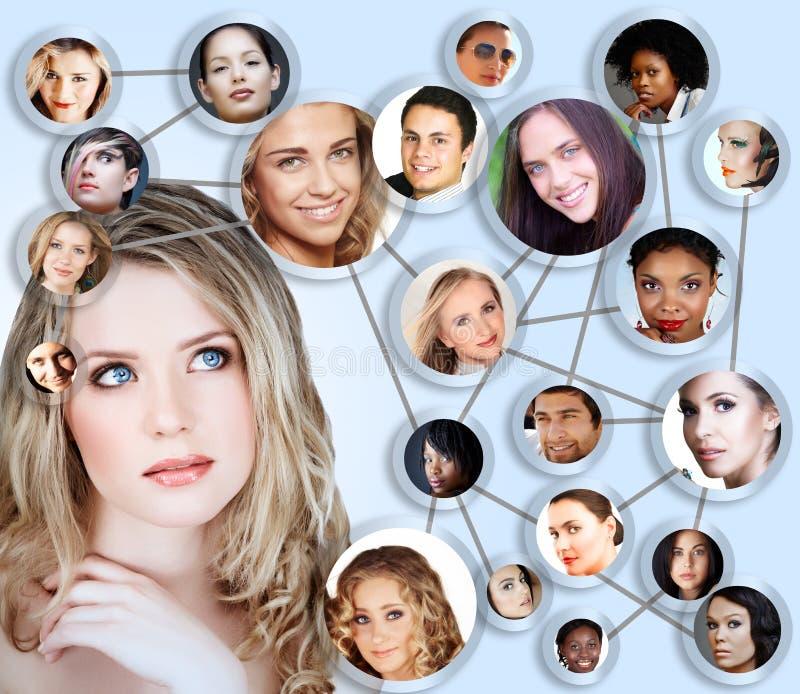 Социальный коллаж принципиальной схемы средств сети стоковые изображения