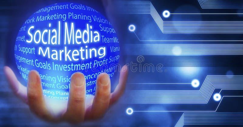 Социальный маркетинг средств массовой информации, глобус земли соединил нововведение с идеями и концепциями, тренировкой, предпос иллюстрация штока