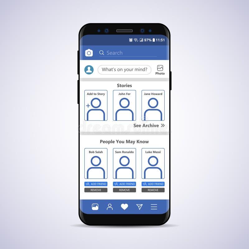 Социальный сетевой интерфейс в смартфоне Модель-макет также вектор иллюстрации притяжки corel иллюстрация вектора