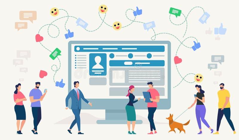 Социальный сетевой сайт также вектор иллюстрации притяжки corel иллюстрация штока