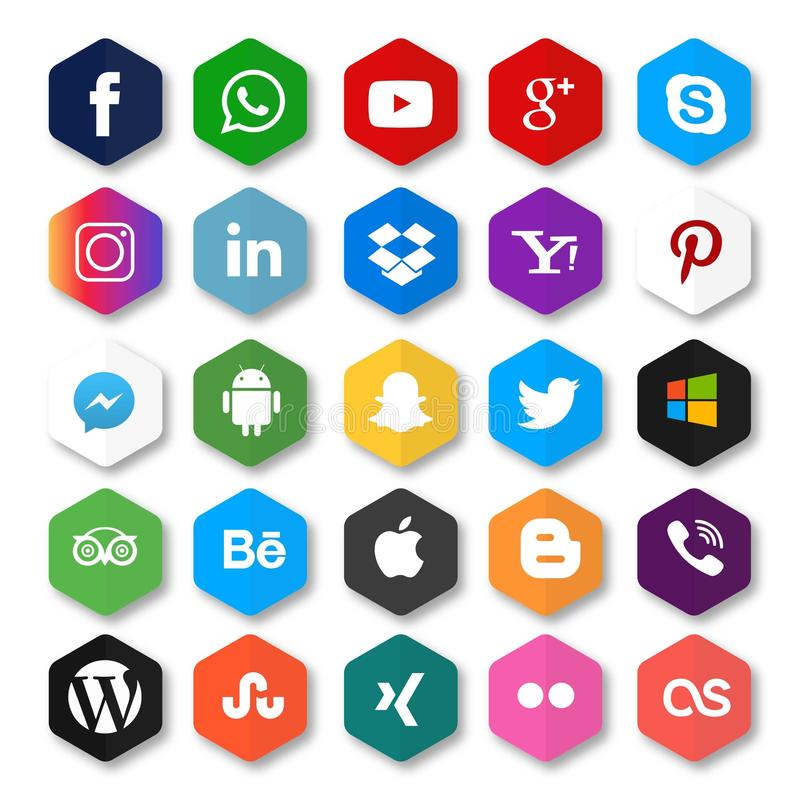 Социальными вектор средств массовой информации установленный значками иллюстрация штока