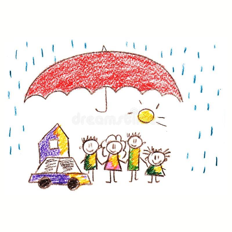 Социальная защита семья счастливая иллюстрация штока