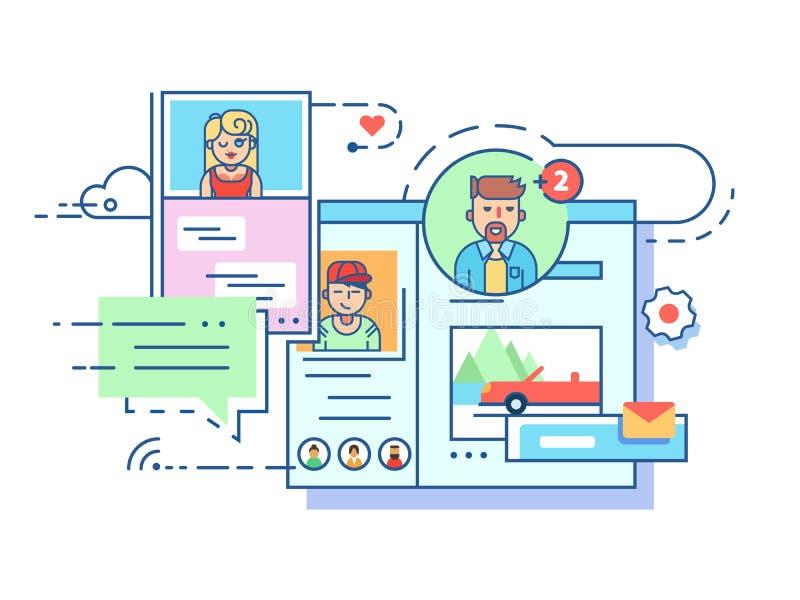 Социальная коммуникационная сеть иллюстрация вектора