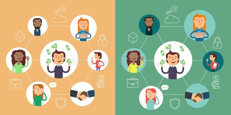 Социальная концепция вектора сети Плоская иллюстрация дизайна для вебсайтов Конструкция Infographic Системы коммуникаций и технол иллюстрация вектора