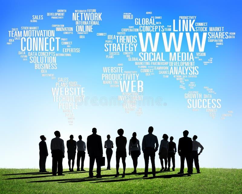Социальная концепция глобальных связей интернет-связи средств массовой информации иллюстрация штока