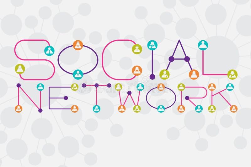 Социальная концепция сети используя точку и соединяясь линию стиль шрифта иллюстрация штока