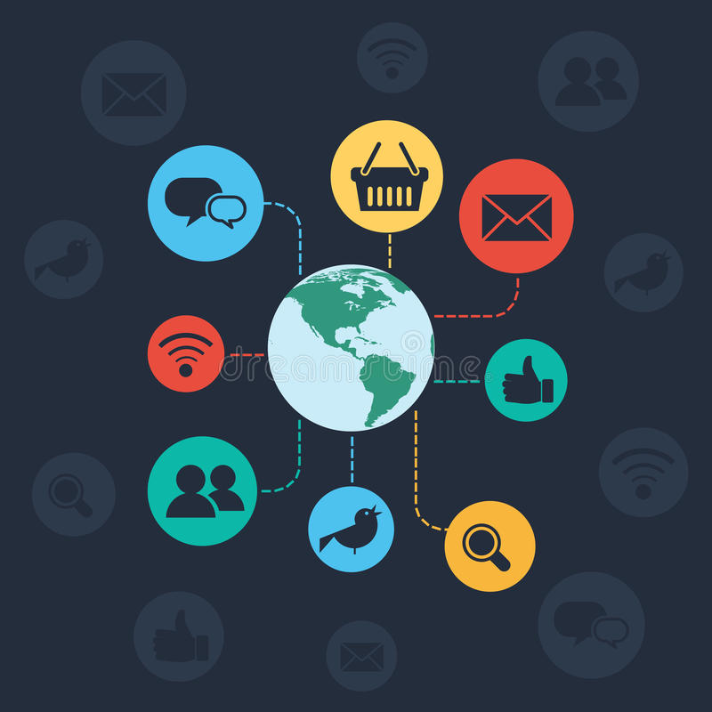 Социальная концепция сети и браузера иллюстрация штока