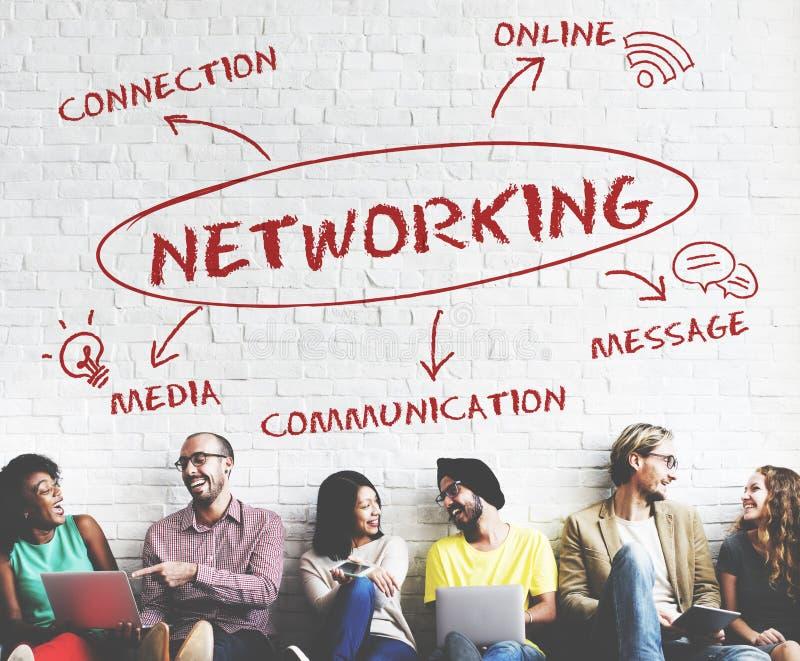 Социальная концепция сети соединения связи средств массовой информации стоковое фото rf