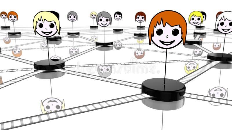Социальная концепция сети с соединенными сторонами на белизне иллюстрация штока