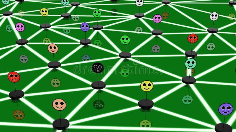 Социальная концепция сети с соединенными сторонами иллюстрация штока